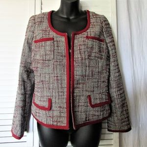 Banana Republic  black cream red piping blazer 10